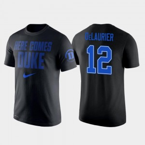 Nike 2 Hit Performance College Basketball Mens Javin DeLaurier Blue Devils T-Shirt #12 Black
