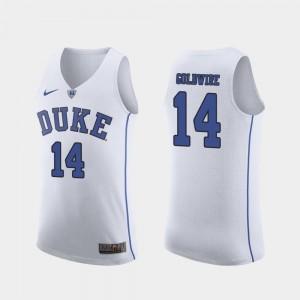 Men's #14 Authentic March Madness College Basketball Jordan Goldwire Duke University Jersey White