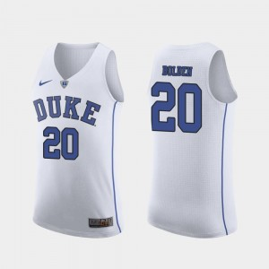 March Madness College Basketball Men's Marques Bolden Duke University Jersey #20 White Authentic