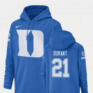 Mataeo Durant Blue Devils Hoodie For Men Nike Football Performance #21 Royal Champ Drive