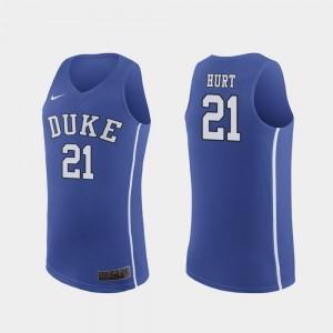 #21 College Basketball Matthew Hurt Duke Jersey Royal Replica Men's