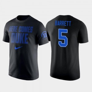 College Basketball Nike 2 Hit Performance #5 RJ Barrett Duke Blue Devils T-Shirt For Men's Black