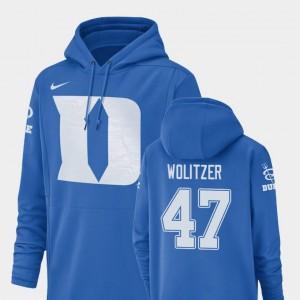 For Men's Champ Drive #47 Ryan Wolitzer Duke University Hoodie Nike Football Performance Royal