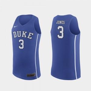#3 March Madness College Basketball Men Royal Authentic Tre Jones Duke Jersey