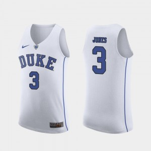March Madness College Basketball Tre Jones Duke Blue Devils Jersey #3 For Men Authentic White