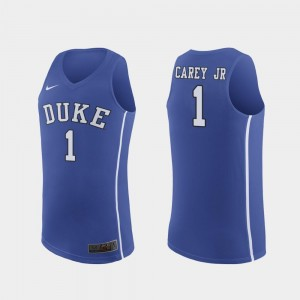 College Basketball Vernon Carey Jr. Duke University Jersey Replica #1 Royal For Men