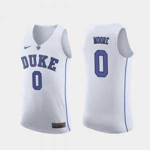 Wendell Moore Duke University Jersey Men's White #0 College Basketball Replica
