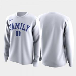 March Madness Legend Basketball Long Sleeve White Men Duke Blue Devils T-Shirt Family on Court