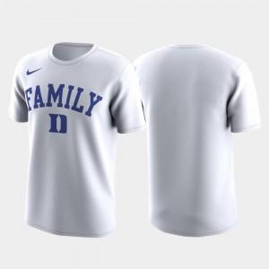 Duke University T-Shirt White Family on Court For Men's March Madness Legend Basketball Performance