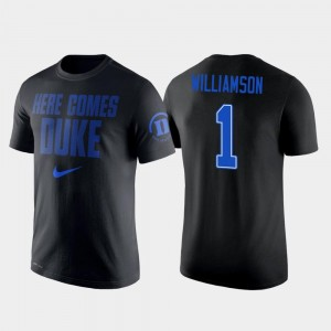 Zion Williamson Blue Devils T-Shirt Nike 2 Hit Performance #1 Men Black College Basketball