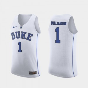 March Madness College Basketball Men's #1 Zion Williamson Duke Blue Devils Jersey Authentic White