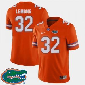 2018 SEC #32 For Men Adarius Lemons Florida Jersey College Football Orange