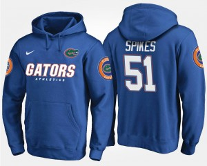 #51 Name and Number Men's Brandon Spikes UF Hoodie Blue