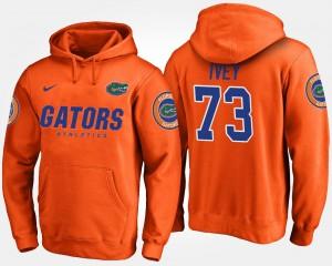 Name and Number #73 Mens Martez Ivey Florida Hoodie Orange