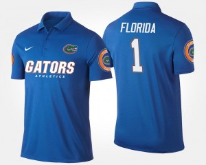 Florida Gators Polo Name and Number Men's Blue No.1 Short Sleeve #1