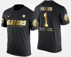 Men's Black Short Sleeve With Message Percy Harvin University of Florida T-Shirt #1 Gold Limited