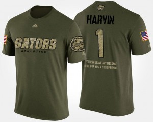 #1 Men Percy Harvin Florida T-Shirt Military Short Sleeve With Message Camo