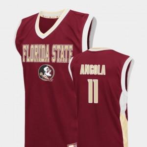 Fadeaway For Men Braian Angola FSU Jersey #11 College Basketball Red