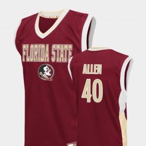 Mens Red #40 Brandon Allen FSU Seminoles Jersey Fadeaway College Basketball