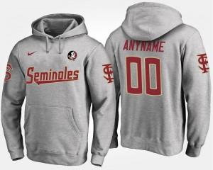 Name and Number #00 Men's Gray FSU Seminoles Custom Hoodies