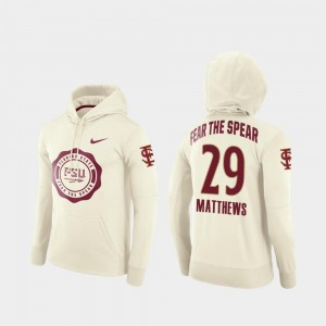 #29 D.J. Matthews Florida State Hoodie College Football Pullover For Men Cream Rival Therma