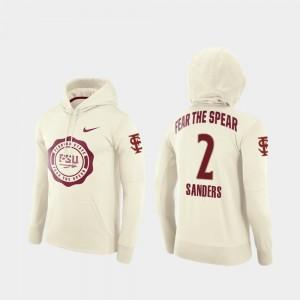 Cream College Football Pullover Deion Sanders FSU Hoodie Rival Therma For Men #2