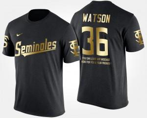 Dekoda Watson FSU T-Shirt For Men's Short Sleeve With Message #36 Black Gold Limited