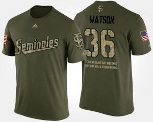 Military Dekoda Watson FSU Seminoles T-Shirt Camo For Men's #36 Short Sleeve With Message
