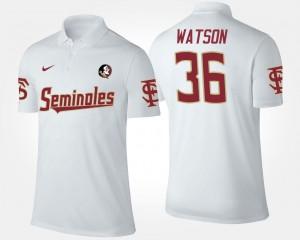 White Dekoda Watson FSU Seminoles Polo For Men's #36 Name and Number