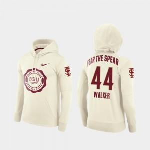 College Football Pullover Rival Therma DeMarcus Walker Florida State Seminoles Hoodie #44 Cream Men's
