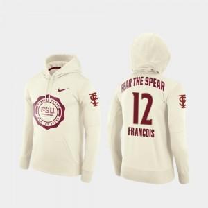 #12 Mens Cream Deondre Francois FSU Seminoles Hoodie College Football Pullover Rival Therma