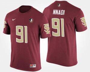 Men Name and Number Derrick Nnadi Florida State T-Shirt #91 Garnet