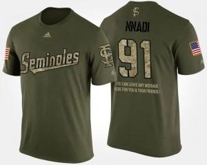 Men Short Sleeve With Message #91 Camo Military Derrick Nnadi FSU T-Shirt