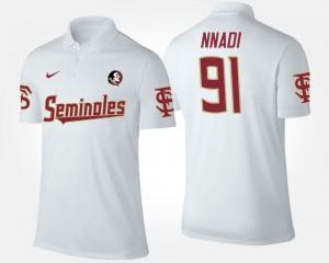 For Men's Derrick Nnadi Florida State Seminoles Polo White Name and Number #91