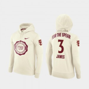 Men's #3 College Football Pullover Rival Therma Cream Derwin James Florida State Hoodie