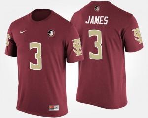 Name and Number Derwin James FSU T-Shirt For Men's Garnet #3
