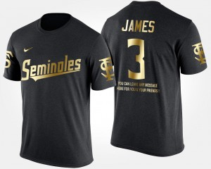Short Sleeve With Message #3 Black Derwin James Florida State Seminoles T-Shirt Gold Limited For Men's