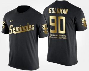 Gold Limited Eddie Goldman Seminoles T-Shirt #90 Men Black Short Sleeve With Message