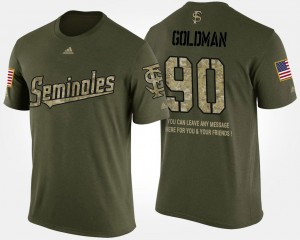 Military Eddie Goldman Florida State T-Shirt #90 For Men Camo Short Sleeve With Message