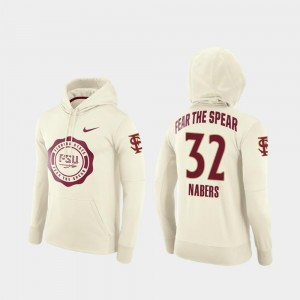 Rival Therma College Football Pullover Cream Gabe Nabers Florida State Seminoles Hoodie #32 For Men