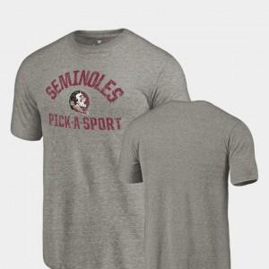 FSU T-Shirt Tri Blend Distressed Men Gray Pick-A-Sport