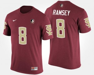 Name and Number Jalen Ramsey Florida State Seminoles T-Shirt #8 For Men Garnet