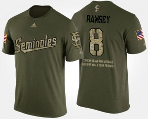 Jalen Ramsey Florida State Seminoles T-Shirt Camo Military Short Sleeve With Message For Men's #8