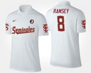Men's White #8 Jalen Ramsey Florida State Seminoles Polo Name and Number