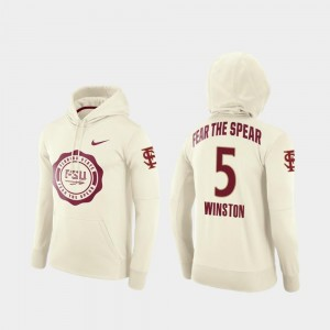 Jameis Winston Florida State Hoodie #5 For Men College Football Pullover Rival Therma Cream