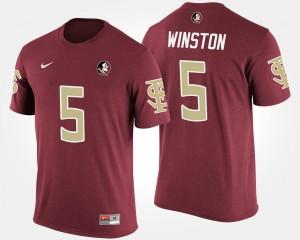 #5 Jameis Winston FSU T-Shirt Name and Number Garnet For Men's