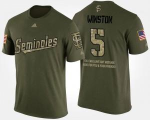 Men Jameis Winston FSU Seminoles T-Shirt Camo #5 Military Short Sleeve With Message
