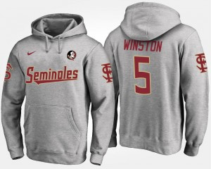 Jameis Winston FSU Hoodie Name and Number Gray #5 Men's