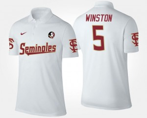 White #5 Name and Number Jameis Winston FSU Seminoles Polo For Men's