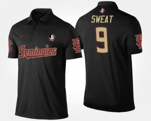 #9 Name and Number Black Mens Josh Sweat FSU Seminoles Polo